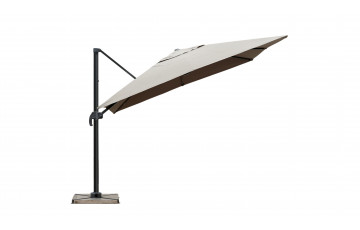 Parasol de jardin carré déporté et inclinable 2m50 taupe DELORM