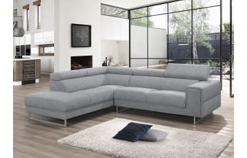 Canapé d'angle en tissu gris 4 personnes DELORM