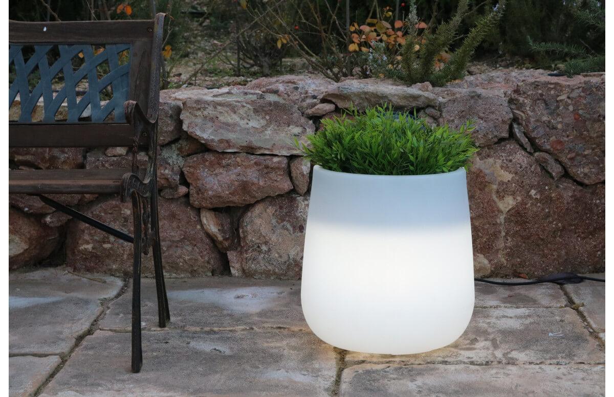 pot de fleur lumineux d'extérieur solaire camelia 40 newgarden
