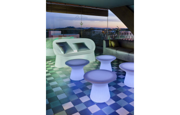 Salon de jardin bas lumineux filaire menorca sofá blanc NEWGARDEN