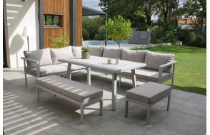 Salon de jardin design bas ANTALYA en aluminium 9 personnes DCB GARDEN