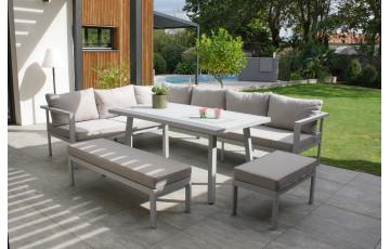 Ensemble table et chaises de jardin ANTALYA en aluminium 9 personnes DCB GARDEN