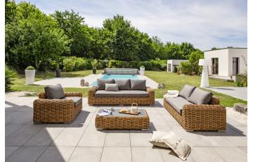 Salon de jardin borabora 6 places en resine tressée - marron