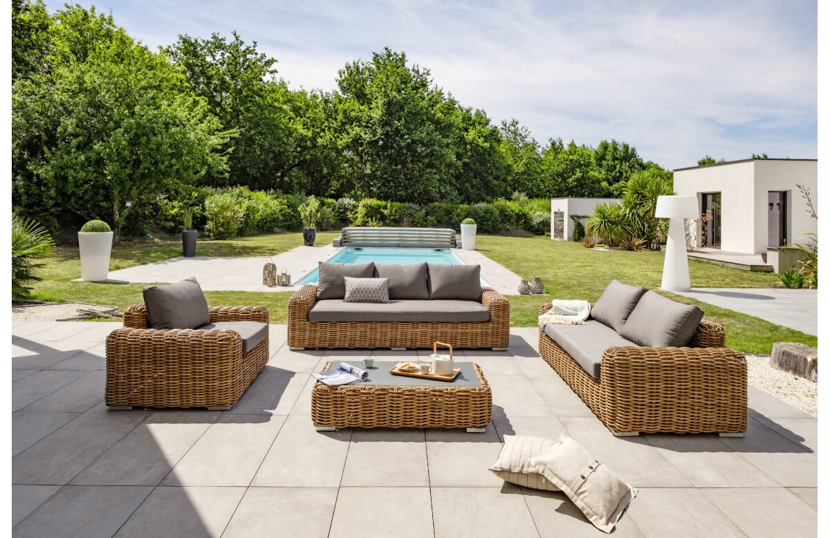 Salon de jardin bas Borabora 6 places en resine tressée - marron Paris Garden