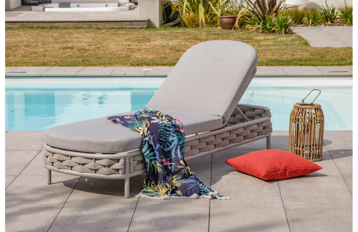 Bain de soleil design en corde tissée gris Paris Garden CAPFERRET