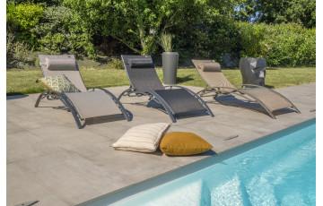 Bain de soleil design en aluminium & textilène 5 positions DCB Garden