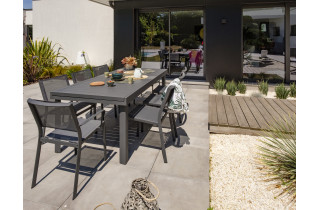 Table salon de jardin extensible en aluminium pour 12 personnes DCB Garden COPENHAGUE gris anthracite