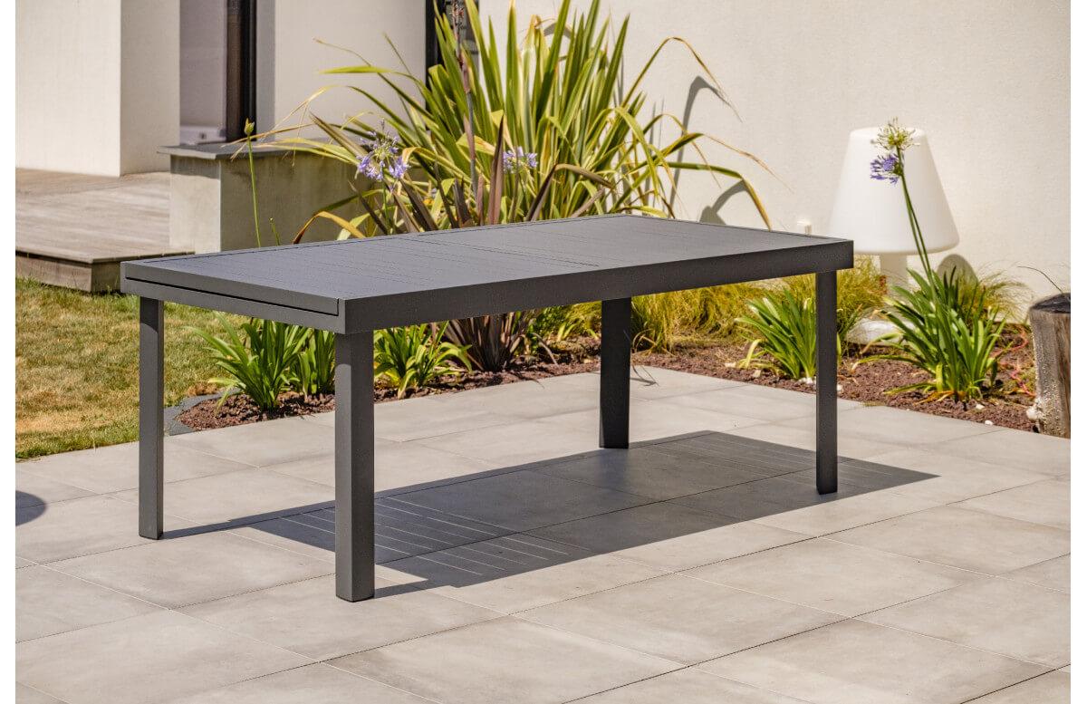 Table salon de jardin extensible en aluminium pour 12 personnes DCB Garden COPENHAGUE gris anthracite