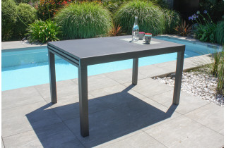 Table de jardin extensible 6/10 personnes GASTON en aluminium Anthracite CITY GARDEN