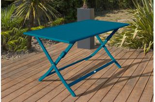 Table salon de jardin pliante pour 4 personnes en aluminium et rectangulaire MARIUS CITY GARDEN