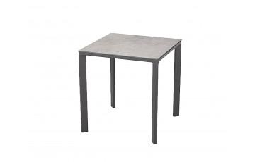 Table de jardin carrée empilable MEET80 en aluminium 2 personnes EZPELETA