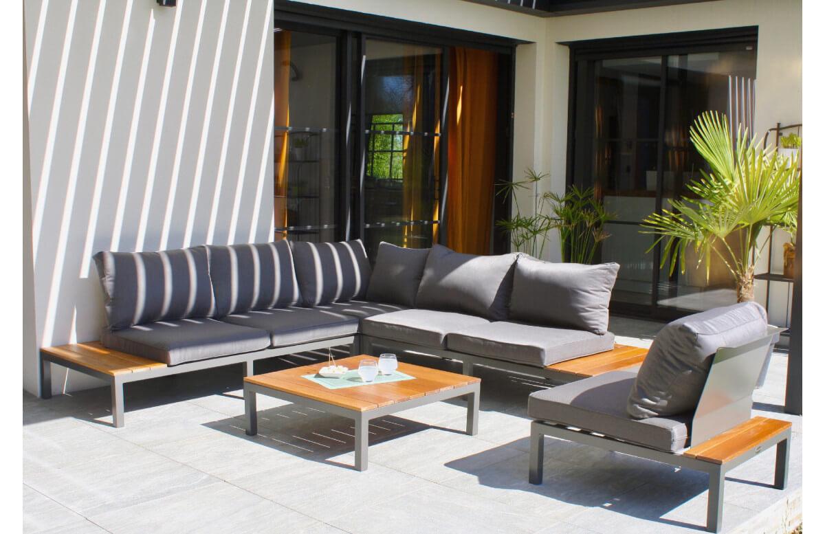 Salon de jardin bas NAGANO en teck FSC et aluminium Anthracite 6 personnes DCB GARDEN