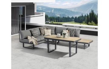 Salon de jardin design bas en aluminium et bois DCB Garden 5 places gris anthracite NAGOYA