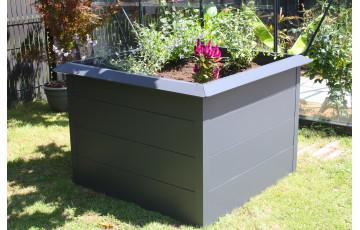 Mini carré potager ORTO 100x100 cm en acier galvanisé Anthracite CITY GARDEN