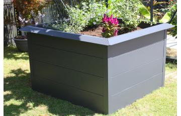 Mini carré potager ORTO 150x100 cm en acier galvanisé Anthracite CITY GARDEN