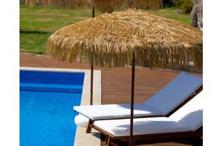 Parasol de jardin à franges MANILA diam. 200 cm en acier finition bois Marron EZPELETA
