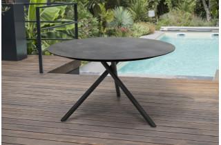 Table de jardin ronde PILAT 129 cm avec plateau HPL Anthracite 6 personnes PARIS GARDEN