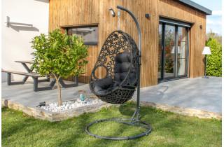 Balancelle de jardin samoa en résine tressée avec coussin DCB Garden