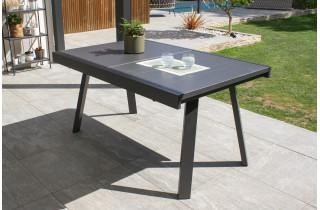 Table de jardin extensible STOCKHOLM en aluminium avec rallonge manuelle Anthracite 6/8 personnes DCB GARDEN
