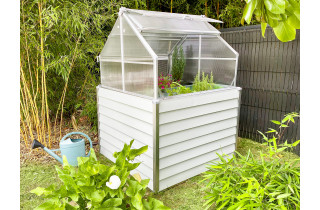 Mini serre de jardin double 120x120 cm STRETTO Blanc CITY GARDEN