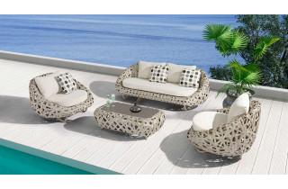 Salon de jardin design bas en résine tressée Paris Garden 5 places gris-beige TANZANIA
