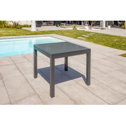 Table salon de jardin extensible en alu/verre pour 4 personnes DCB Garden TOLEDE gris anthracite