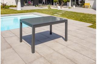 Table salon de jardin extensible en alu/verre pour 6/8 personnes DCB Garden TOLEDE gris anthracite