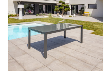 Table salon de jardin extensible en alu/verre pour 12 personnes DCB Garden TOLEDE gris anthracite