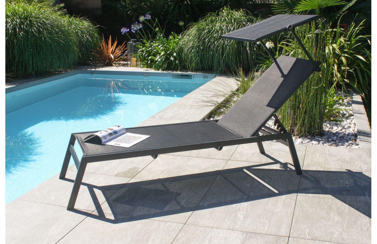 Bain de soleil design TOSCANE en aluminium et textilène avec brise soleil Anthracite DCB GARDEN