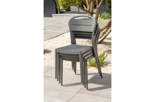 Chaise de jardin empilable MADELIA en aluminium Anthracite CITY GARDEN