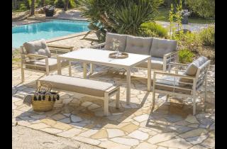 Ensemble table et chaises de jardin CAYENNE en aluminium 7 personnes DCB GARDEN