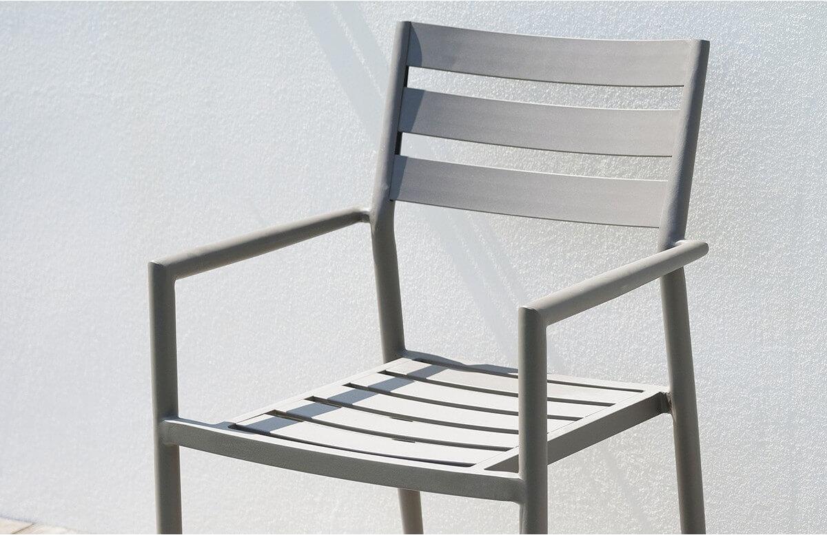 Fauteuil salon de jardin empilable en aluminium GABIN CITY GARDEN