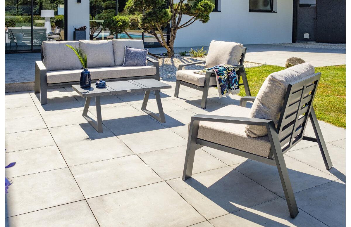 Salon de jardin design bas en aluminium DCB Garden 5 places IBIZA