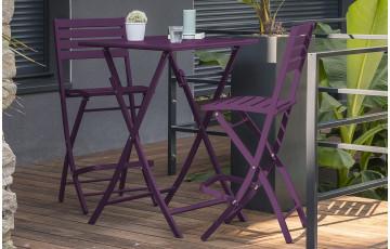 Ensemble haut table et chaises de jardin en aluminium 2 personnes Marius CITY GARDEN