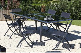 Ensemble table et chaises de jardin en aluminium 6 personnes - rallonge papillon DCB Garden