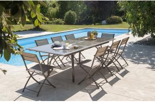 Ensemble table et chaises de jardin en aluminium 8 personnes - rallonge papillon DCB Garden