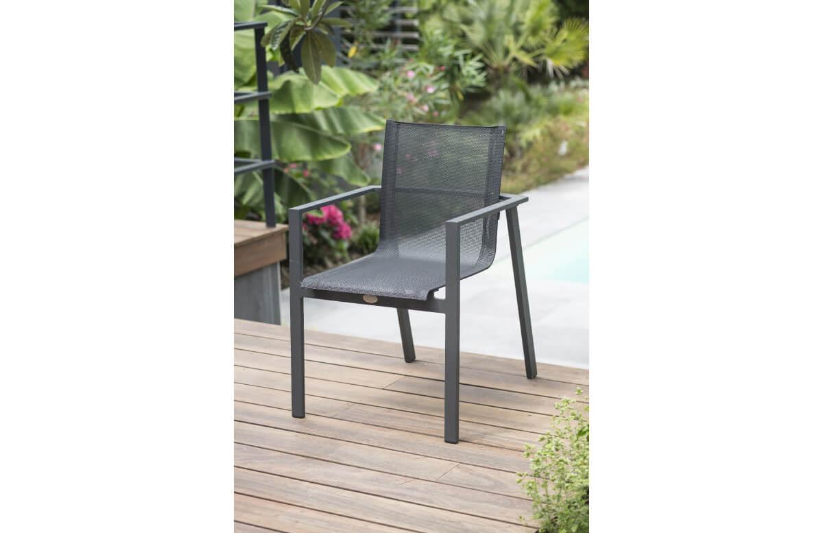 Fauteuil salon de jardin empilable en aluminium DCB Garden gris MIAMI