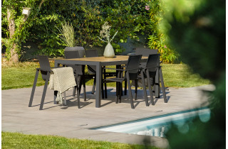 Ensemble table et chaises de jardin plateau céramique et aluminium Anthracite Helsinki 6 personnes DCB GARDEN