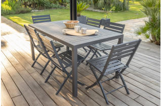 Ensemble table et chaises de jardin 6 personnes en aluminium anthracite DCB Garden MIAMI-Marius