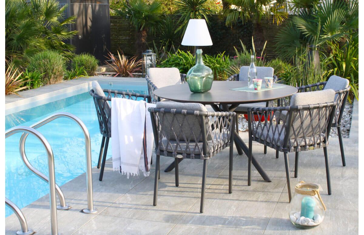 Ensemble table ronde et fauteuils de jardin PILAT en aluminium/HPL 6 personnes PARIS GARDEN