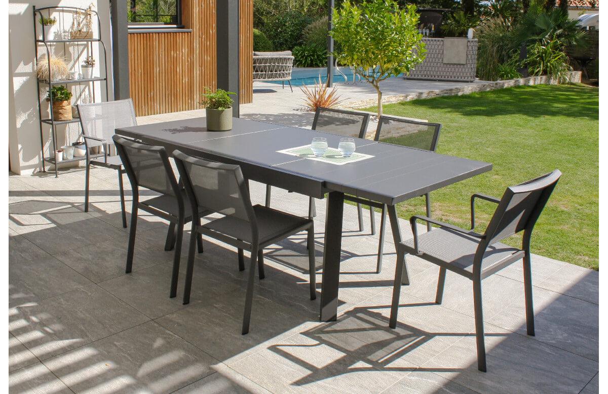 Ensemble table et chaises de jardin extensible en aluminium STOCKHOLM Anthracite 6 personnes DCB GARDEN