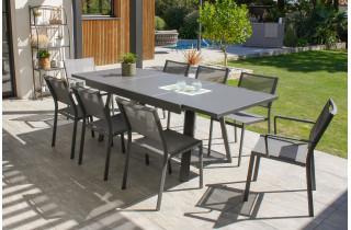 Ensemble table et chaises de jardin extensible en aluminium STOCKHOLM Anthracite 8 personnes DCB GARDEN
