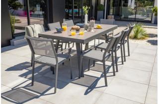 Ensemble table et chaises de jardin extensible en céramique STOCKHOLM Anthracite 8 personnes DCB GARDEN