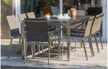 Ensemble table et chaises de jardin 8 personnes en inox & céramique Paris Garden