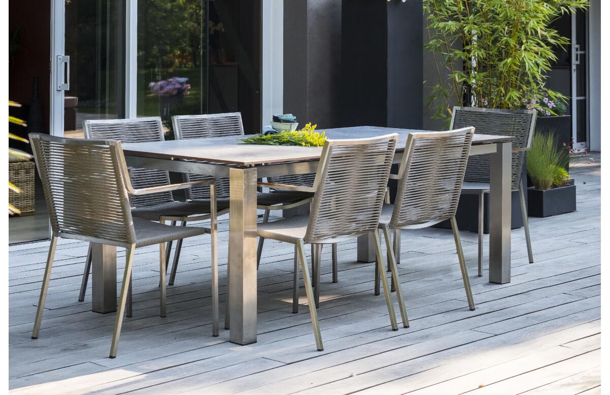 Ensemble table et fauteuils de jardin 6 personnes en inox & HPL Paris Garden