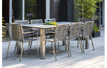 Ensemble table et fauteuils de jardin 8 personnes en inox & HPL Paris Garden
