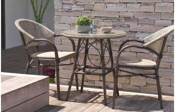 Ensemble guéridon ronde et fauteuils de jardin en imitation bambou pour 2 personnes DCB Garden USHUAIA