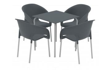 Ensemble table et chaises de jardin RODAS avec pieds en acier laqué et polypropylène 4 personnes EZPELETA