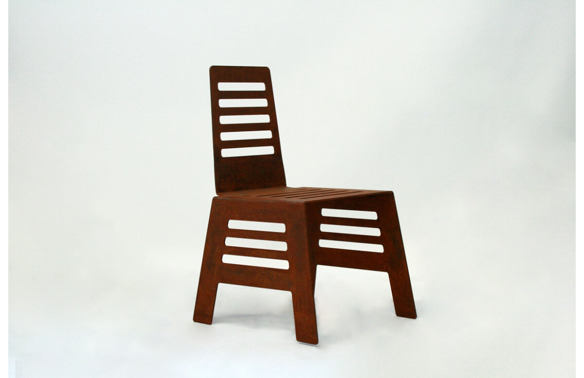 Chaise de jardin en corten bruni CUT - TrackDesign