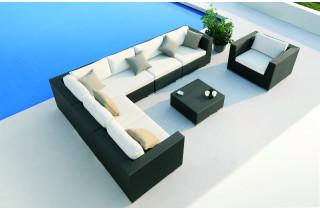 Salon de jardin bas 7 personnes en aluminium marron PULLMAN - Hémisphère Editions